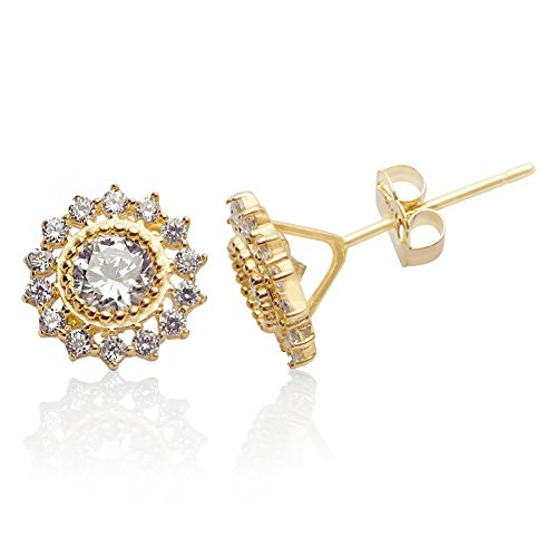 NEW 2017 Style 14k Yellow Gold Sunflower CZ Stud Earrings for Women and Girls (Sunflower Yellow 14k Gold)