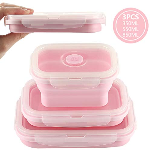 Duoyou Collapsible Silicone Lunch Bento Box, Portable Food Storage Container Outdoor Picnic Box Space Saving, Microwave, Dishwasher and Freezer Safe, 3 Pcs Set -