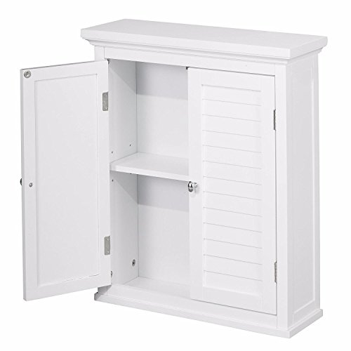 White Wood Bathroom Cabinets With Shutter Doors and Adjustable Shelving Includes Custom Mouse Pad by E.H.F.