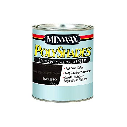 Minwax 614970444 PolyShades - Stain & Polyurethane in 1 Step, quart, Espresso, Gloss