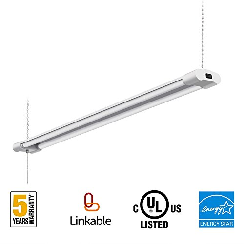 40W Linkable LED Utility Shop Lights for Garage 4FT 4000LM Double Integrated LED Fixture UL and Energy Star,5000K Daylight 100W Fluorescent Light Fixture Eq with Plug (1 Pack)