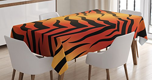 Ambesonne Animal Print Decor Tablecloth, Abstract Tiger Skin Pattern Wildlife Nature Themed Fashionable Illustration, Rectangular Table Cover for Dining Room Kitchen, 52x70 Inches, Red yellow Black (Dining Room Ideas Beach Themed)