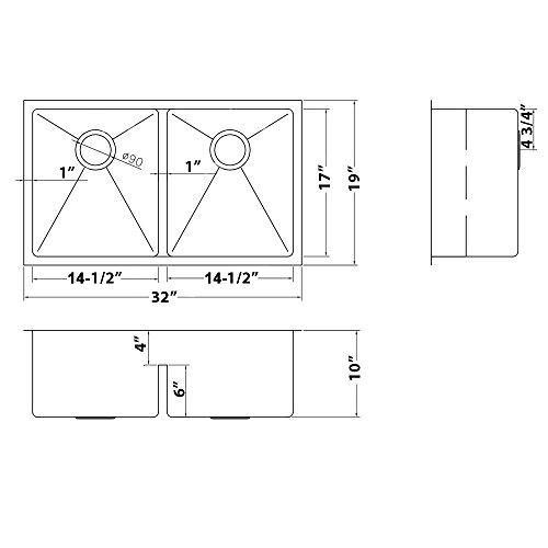 Ruvati 32-inch Low-Divide Undermount Tight Radius 50/50 Double Bowl 16 Gauge Stainless Steel Kitchen Sink - RVH7411 by Ruvati (Image #7)