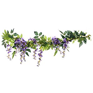UUPP 2Pcs 6.6Ft Artificial Flowers Silk Wisteria Garland Fake Green Leaf Rattan Hanging Flower Ivy Vines for Home Garden Outdoor Ceremony Wedding Arch Decor 27