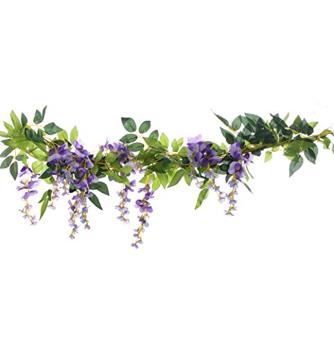 UUPP 2Pcs 6.6Ft Artificial Flowers Silk Wisteria Garland Fake Green Leaf Rattan Hanging Flower Ivy Vines for Home Garden Outdoor Ceremony Wedding Arch Decor, Purple