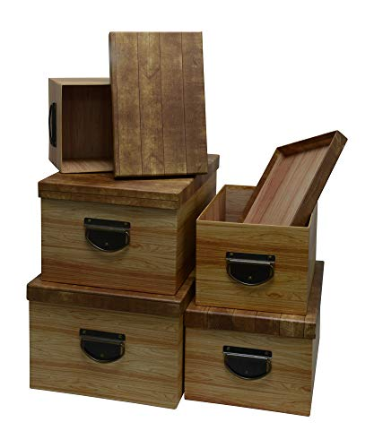 Kraft King Decorative Storage Boxes - Vintage Design with Brass Handles - Convenient for Home & Office Use - Set of 5