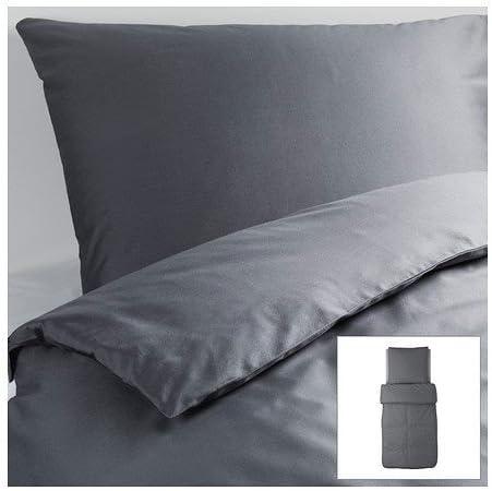 Ikea Gaspa Parure De Lit 2 Pieces Gris Fonce De Qualite 140