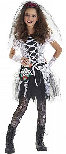 Girls 4 Piece Gothic Dead Bride Halloween Fancy