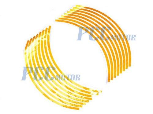 "YELLOW 15"" Car Bike Motorcycle Rim Stripe Wheel Tape Decal Sticker DE56"