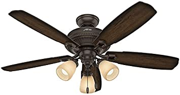 Hunter 53354 traditional ambrose onyx bengal ceiling fan with hunter 53354 traditional ambrose onyx bengal ceiling fan with light 52quot aloadofball Images