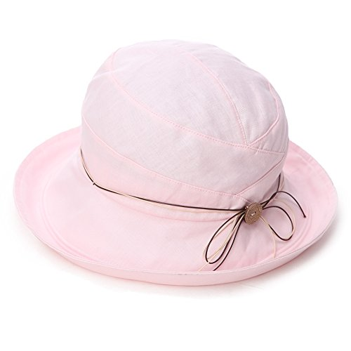 Siggi Ladies UV 50 Protection Cotton Linen Foldable Bucket Sun Hats Wide Brim Sunhat w/Chin Cord Summer Pink