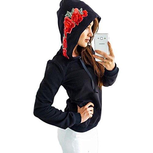 Aster Moon Shop Rose Print Hoodies Women Pullover Casual Harajuku Jumper Sweatshirt, (Color - Army Green, Size - XL) at Amazon Womens Clothing store: