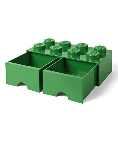 Eight Box Drawers (LEGO Brick Drawer, 8 Knobs, 2 Drawers, Stackable Storage Box, Dark Green)