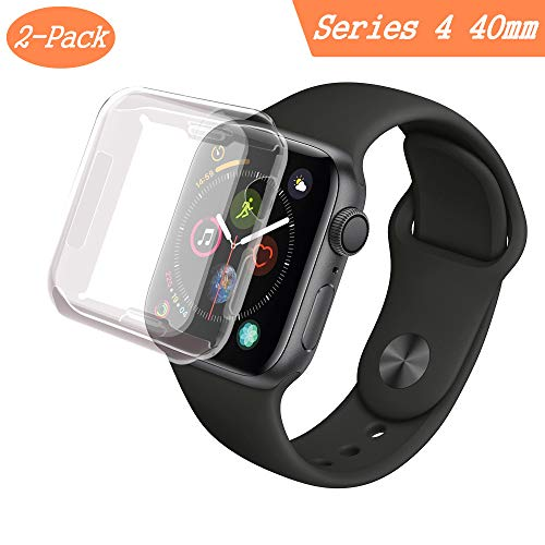 [2-Pack] Smilelane Case for Apple Watch Series 4 40mm Screen Protector, iwatch All-Around 0.3mm Ultra-Thin Soft Transparent Cover for Apple Watch Series 4 40mm