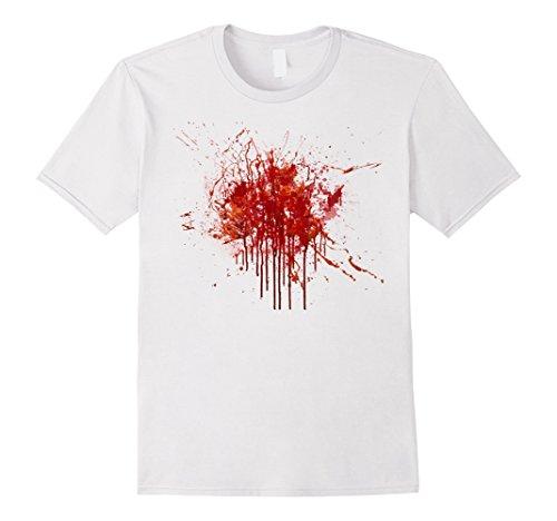 Bloody T Shirt Costume (Mens Happy Halloween Blood Splatter Tshirt Costume - Gag Gift Tee XL White)