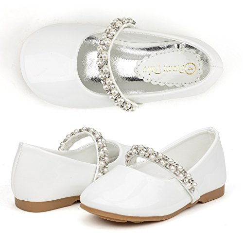 Dream Pairs SERENA-100 Mary Jane Casual Slip On Ballerina Flat Toddler New White Size 9 (Shoes For Girls For Dress)