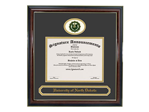 Signature Announcements University of North Dakota (UND) Undergraduate and Graduate Graduation Diploma Frame with Sculpted Foil Seal & Name (Gloss Mahogany w/Gold Accent, 16 x 16)