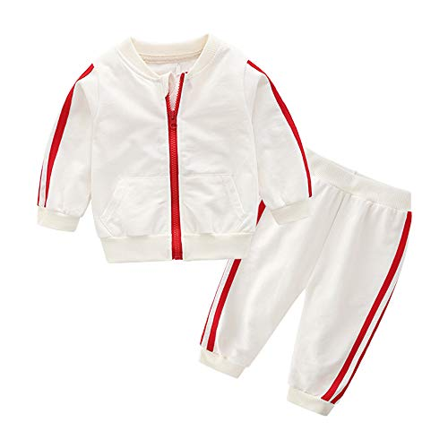 Moyikiss Studio Unisex Tracksuit Baby Boys Girls Clothes Cotton Long Sleeve Zipper Sweatshirt Jacket and Pants (White, 80/9-12Months)