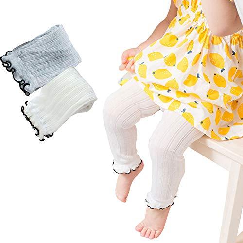BBKidss Toddler Girls Summer Ruffle Tights Footless Leggings Pantyhose Cable Ribbed Stocking Pants 2 Pack White,Grey