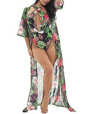 Mongolulu Women Sexy Floral Bikini One Piece Swimsuit with Ponchos Beach Cover Up S-XL