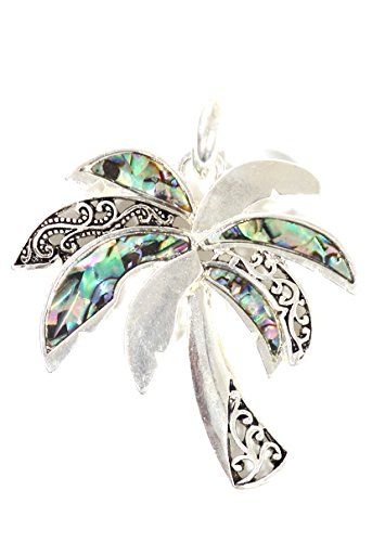 Magic Metal Palm Tree Pendant Mother of Pearl Silver Tone NP70 Fashion Jewelry ()
