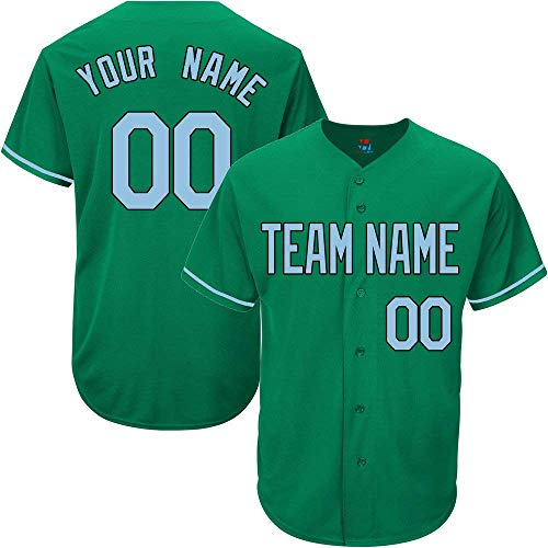 Showcool Kelly Green Custom Baseball Jersey for Men Women Youth Authentic Embroidered Player Name & Numbers S-5XL