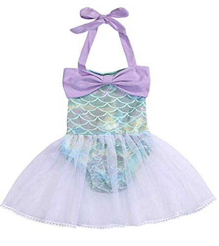 EGELEXY Baby Girls Bowknot Sequins Ruffles Mermaid Bodysuit Romper Jumpsuit Tutu Party Dress Sunsuit Outfits Size 18-24 Months/Tag100 - Fish Sequin