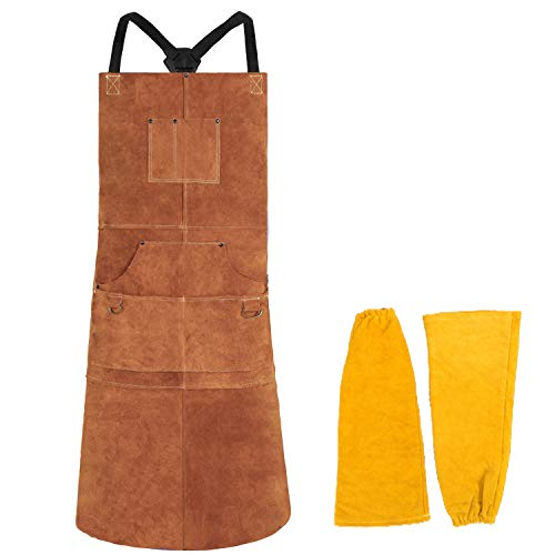 "Leather Welding Apron 6 Pockets with Sleeve - Heat & Flame-Resistant Heavy Duty Work Aprons, 42"" Extra Large & Cross Back Long Strap, Adjustable M to XXXL for Men & Women"