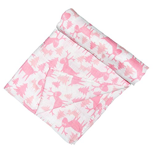 Earth Baby Outfitters Organic Cotton Muslin Swaddle Blanket Deer One Size Pink -