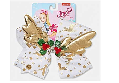 Jojo Siwa Gold Reindeer & Stars with Holly Holiday Chirstmas Hair Bow