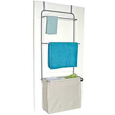 Homz  Over The Door  Towel and Garment Organizer with Khaki Laundry Bag Included, 21  x 9.5  x 56 , Silver (5832008)