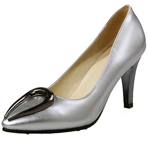 VogueZone009 Women's Pull On Pointed Closed Toe High-Heels PU Solid Pumps-Shoes Silver 2YNSj8B4