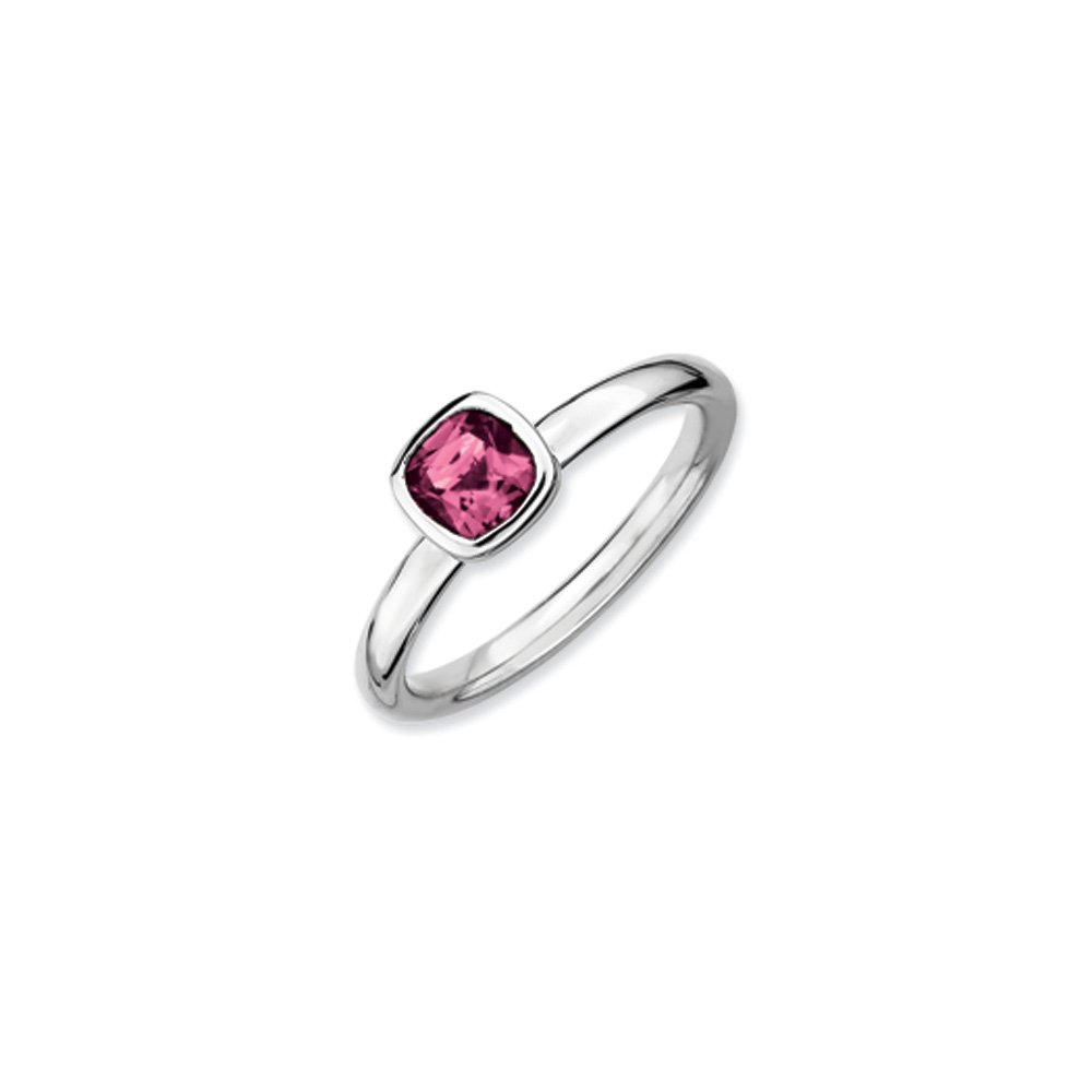 Silver Stackable Cushion Cut Pink Tourmaline Ring, Size 10