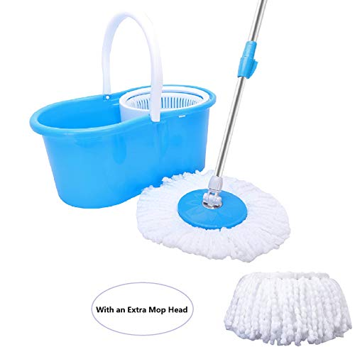 360° Microfiber Spin Household Mop Bucket Floor Cleaning System Stainless Steel Extended Length Handle with with 2 Cotton Mop Heads (Blue)