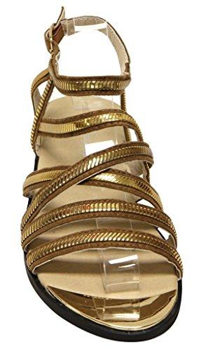 Evigt Rosie-31 Kvinnor Öppen Tå Korsning Remmen Justerbar Ankelbandet Guld Trim Sandaler Tan 5