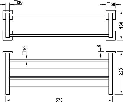 rostfrei dank hochwertiger Beschichtung L/änge 600 mm M/öbelbeschl/äge von GedoTec/® H3205 Doppel-Handtuchablage mit Handtuchstange Chrom poliert Handtuchhalter eckig Wandmontage