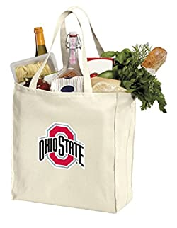 Reusable Ohio State University Grocery Bags or OSU Buckeyes Shopping Bags Natural Cotton