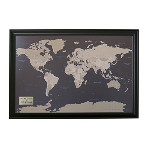 Personalized Earth Toned World Push Pin Travel Map with Black Frame and Pins 24 x 36 - Personalized World Map With Pins