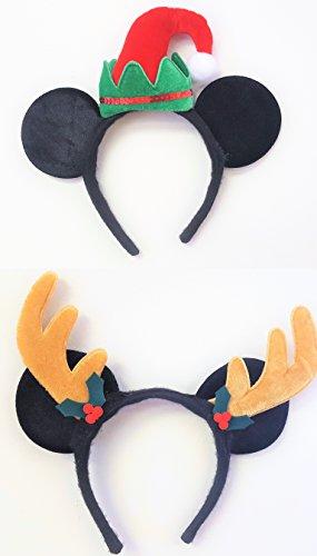 Santa's Little Helper Set of 2 Festive Holiday Mickey Mouse Headbands - Mickey Moose and Mickey (Moose Garland)