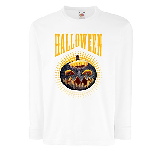 T-Shirt for Kids Halloween Pumpkin - Clever Costume Ideas 2017 (7-8 Years White Multi Color) ()