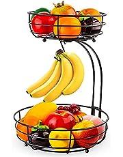 Fruitmand met 2 verdiepingen, met bananenhouder, staand dagelijkse keuken, moderne fruitschaal, praktische fruitschaal, groentemand van metaal, zwart