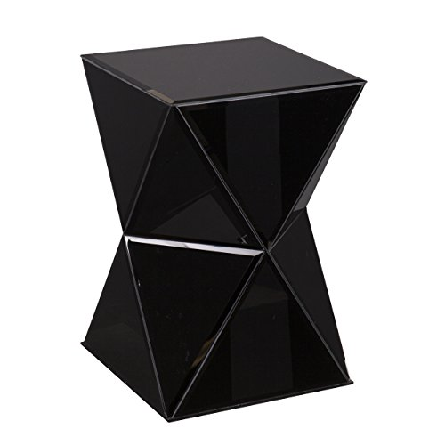Geometric Hourglass Accent Table - Black Mirror Finish - Low Profile Small - Bathroom Low Black Mirrors