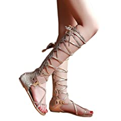 Womens Comfy Lace Up Flat Knee High Gladiator Sandals Gold Color