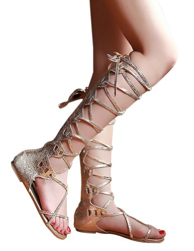 Kattee Women's Comfy Lace Up Flat Knee High Gladiator Sandals Gold Color (7) (Greek Goddess Sandals)
