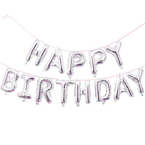 GOER Birthday Party Decorations,16 Inch Cute Silver HAPPY BIRTHDAY Alphabet Letters Foil Balloons with 20 Glue
