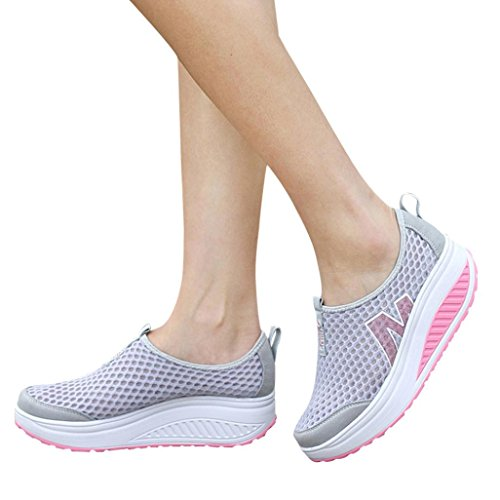 vermers Clearance Sale Fashion Women Platform Shoes - Women's Loafers Breathable Air Mesh Swing Wedges Shoes(US:6.5, Gray) by vermers