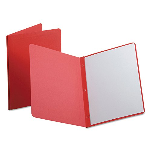 Title Oxford Panel - Oxford Title Panel and Border Front Report Covers, Red, Letter Size, 25 per Box, (52511)