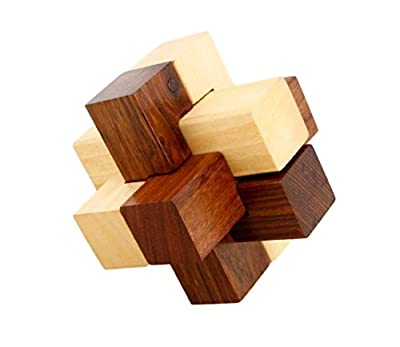 Shalinindia Handmade Wooden Cross IQ Teaser Puzzle - 3D Magic Games For Children - Unique Kids Gifts