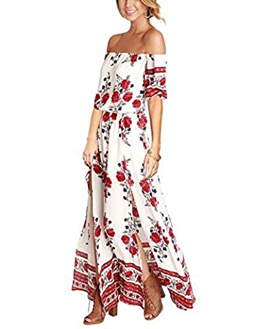 Liebeye Women Floral Short Sleeve Off Shoulder Bohemian Slit Maxi Beach Dress S - Together Short Sleeve Dress