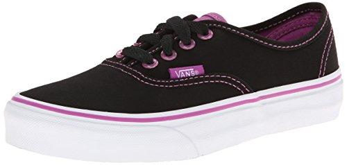Vans Authentic (Canvas) Sneakers for Unisex Kids in Classic Colors, Stylish Prints and Fashionable Designs Black / Radiant Orchid